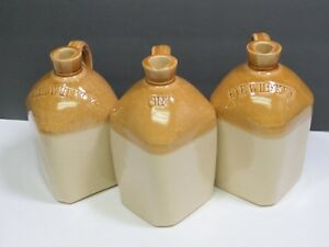 3 English Antique Stoneware Bottles Jugs Gin Rye Whisky Scotch Whiskey Tan Gold