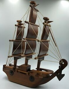 Vintage Handmade Model Wooden Sailing Boat Barque Ship Sail Coast Guard Anchor