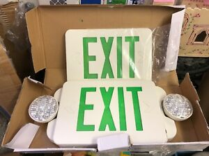 Led Green Exit Sign Emergency Light Compact Combo Ul Combogjr