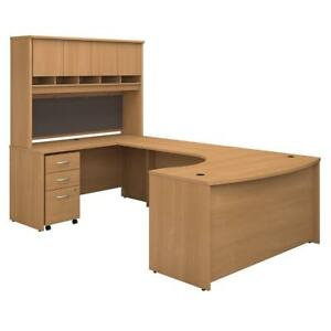 Series C 60w Left Handed Bow Front U Shaped Desk With Hutch And Storage