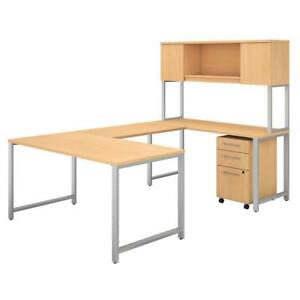 400 Series 60w X 30d U Shaped Table Desk With Hutch And 3 Drawer Mobile File