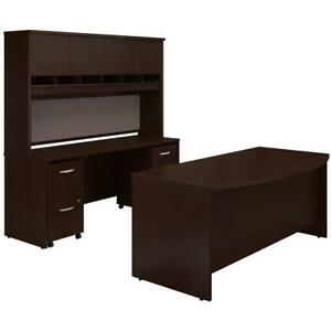 Series C Bow Front Desk With Credenza Hutch And Storage