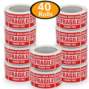 3x5 40 Roll Fragile Stickers Handle With Care Red Warning Shipping Mailing Label