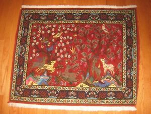 Detailed Persian Hand Woven Wool Rug 2 9 X 3 3 Tree Of Life Animals Red Blue