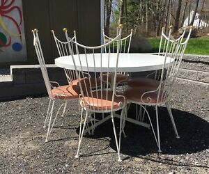 Vintage 1950s Hollywood Regency Dining Set W 6 Chairs Pink Dinette Mcm Patio