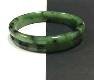 Vintage Estate Heavy Carved Chinese Green Jadite Jade Bangle Bracelet Dd217e