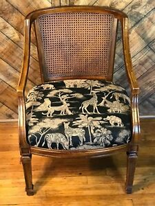 Chair With Jungle Tropical Style Print And Wicker Back