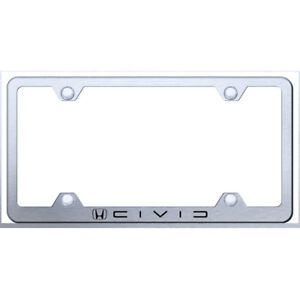 Wide Body License Plate Frame With Honda Civic Reverse C Name On Brushed Steel