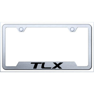 Cut out License Plate Frame With Acura Tlx On Brushed officially Licensed