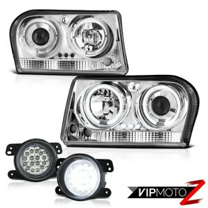 2009 2010 Chrysler 300 3 5l Touring Crystal Led Halo Headlights Driving Fog Lamp