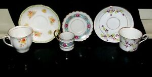 Lot Of 3 Vintage Tea Cup And Saucer Sets Fine Bone China Exc