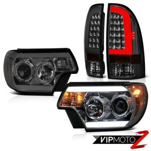 For 12 15 Toyota Tacoma Graphite Smoke Rear Custom Head Lights Replacement Pair