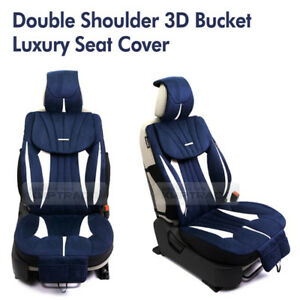 3d Bucket Double Shoulder Ultra Suede Luxury Seat Cover Navy 1ea For All Vehicle