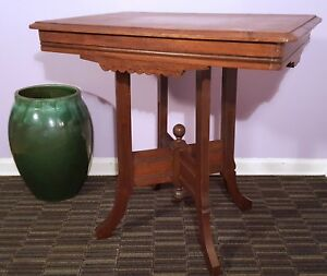 Antique Eastlake Parlor Table Victorian Carved Wood Vintage Side End Table