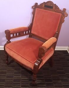 Antique Eastlake Style Parlor Chair Vintage Louis Xiii Armchair Victorian Throne