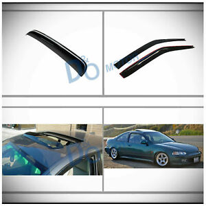 3pc Vent Shade Window Visor sun moon Roof Shield Fit 92 95 Civic Coupe hatchback