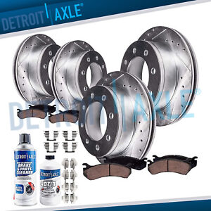 For 03 08 Dodge Ram 2500 3500 8 Lug Front Rear Drilled Rotors Ceramic Brake Pads
