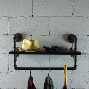 P27 bs 27 Inch Decorate Pipe Shelf And Clothes Rack With Reclaimed aged Wood