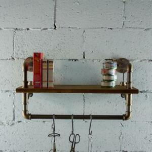 P27 rb 27 Inch Decorate Pipe Shelf And Clothes Rack With Reclaimed aged Wood
