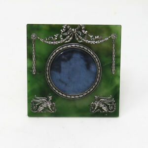 Nyjewel Imperial Russian Nephrite Photo Picture Frame By Faberg Silver Master