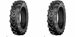 Two 9 5x16 9 5 16 R1 6 Ply Bar Lug John Deere Tractor Tires Tubeless Tires