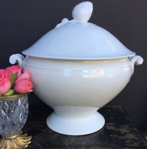 Antique French White Porcelain White Ironstone Tureen Dish