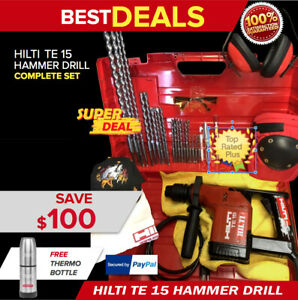 Hilti Te 15 Hammer Drill Preowned Free Thermal Bottle Extras Fast Shipping