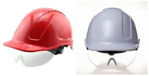 Safety Helmet With Transparent Pc Glasses Abs Construction Protective Work Cap