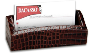 Dacasso Brown Crocodile Embossed Leather Business Card Holder