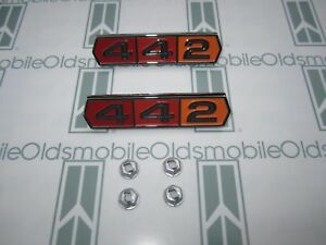 1964 1965 Olds Cutlass 442 Emblems 2 W Hardware Chrome Plated Tri Color