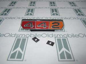 1965 Olds Cutlass 442 Grill Emblem With Hardware Chrome Plated Tri Color