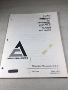 Allis Chalmers Hd21 Tractor Independent Hydraulic Systems Parts Catalog Manual