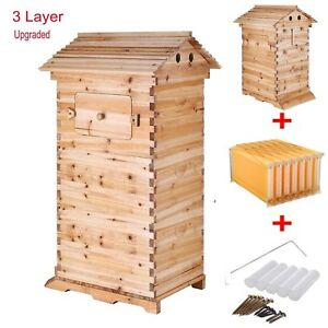 3 box Beekeeping Wooden House 7pcs Hive Flow Auto Honey Beehive Frames