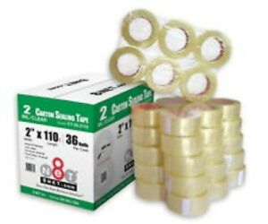 144 Rolls Clear Box Carton Sealing Packing Packaging Tape 2 Inch X 110 Yards