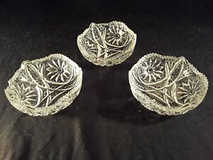 Three Near Cut Antique Crystal Glass Bowl Gorgeous