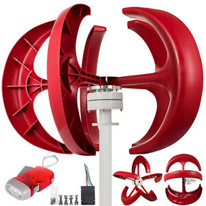 Wind Turbine Generator 600w 12v W charge Controller Red Axis Vertical High Grade