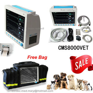 Contec Veterinary Patient Monitor ecg nibp spo2 pr resp temp free Printer bag