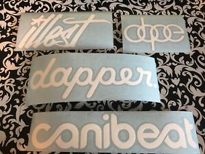 4pk Gloss White Canibeat Illest Dope Dapper Decal Vinyl Cut Sticker Jdm