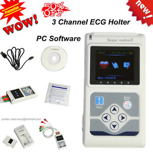 Ecg ekg Holter System 3 Channel 24 Hours Recorder Monitor Us software Promotion