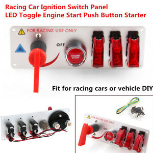 Universal Racing Car Ignition Switch Panel Led Toggle Engine Start Push Button
