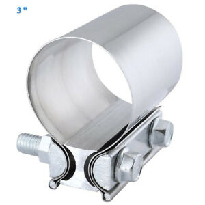 3 Stainless Butt Joint Exhaust Band Step Clamp For Catback Muffler Downpipe