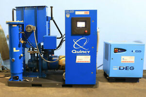 50hp Quincy Qsi 245i Air Compressor Rotary Screw Mta Deg Air Dryer 200 Gallo