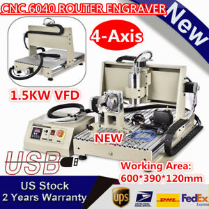 Usb 4 axis Cnc 6040 Router Engraver 3d Mill Carving Engraving Machine 1 5kw Vfd