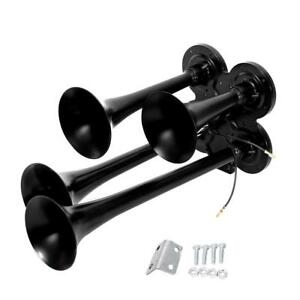 4 trumpet Air Train Horn 150db 12v 24v Set Truck Boat Black Horns Motorcycle