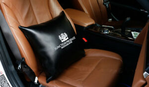 1pcs Black Leather Jp Junction Produce Car Seat Throw Pillows Cushion Backrest