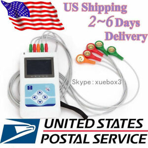 Fedex 24 Hours 3 Channel Ecg ekg Holter Monitor System Usb Software contec Usa