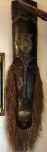 Rare Unique African Mask Large Tribal Mask 6 Feet Hammered Metal Detail