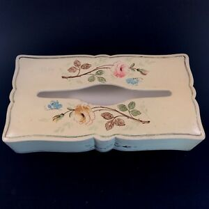 Italian Tissue Box Hand Painted Wood Yellow Vintage 60s Floral Pattern