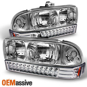 Fits 98 04 Chevy S10 Blazer Clear Crystal Headlights Full Led Bumper Signal Lamp