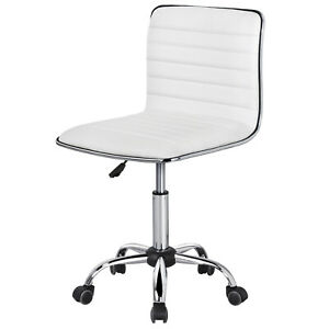Office Desk Chair Pu Leather Low Back Ribbed Armless Swivel Task Chair Wheels